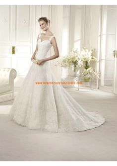 Robe de mariée 2013 tulle dentelle avec bretelles