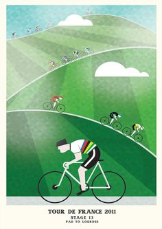 Cycling Print • Tour de France 2011 Prints by Neil Stevens • Purchase at http://crayonfireshop.bigcartel.com/