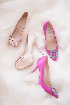 Pink Manolo Blahnik and Sergio Rossi bridal shoes // Maciel and Bianca's Coral-Infused Affair With a Heavenly Wedding Gown