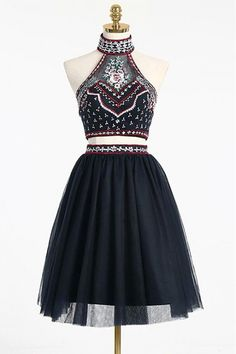 A-line Homecoming Dresses, Short Homecoming Dresses, High Neck Beading Two Piece Short Backless Homecoming Dresses,2 Pieces Prom Dresses #homecomingdresses2018 #shortpromdresses #twopiecespromdresses #eveningdresses