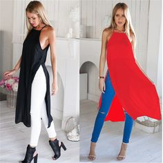Two Side Split Shirt High Slit Maxi Long Dress Fashion Casual Sleeveless Summer Beach T Tee Tshirt Sexy Chiffon Sundresses(China (Mainland))