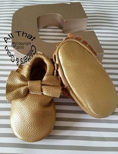 0b8bb67fa1c0 Gold Leather Baby Moccasins 100% Genuine by GlittersandGoldShop Baby  Moccasins