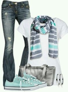 I love this outfit and how the gray and teal go together.