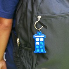 An easy to make perler bead keychain that features your favorite blue Tardis from the infamous Doctor Who series!