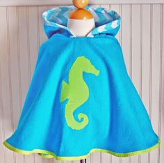 Hooded Towel Seahorse Swimsuit Cover Up in Lime by thetrendytot, $45.00