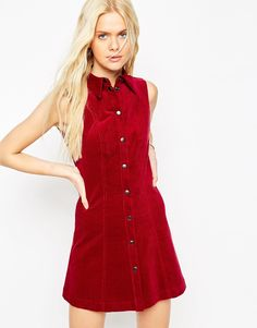 Image 1 ofASOS Cord Shirt Dress