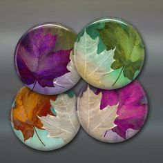 Colourful fall leaves fridge magnets are designed, printed and hand pressed by WallCakes.  At 3.5 (9 cm) across, not only do they make a statement ,