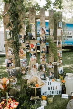 """Pallet Photo Wall from a """"Wild ONE"""" Jungle Birthday Party on Kara's Party Ideas 