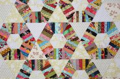 Honeycomb Quilt Pattern String quilt pattern by KarenGriskaQuilts. Close up photo.