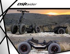 DSRAIDER and EZRAIDER are 4 wheel electric vehicles and a crazy mix between full suspension electric skateboard and Kickscooter with 4 wheels. Fun version ( EZRAIDER) and utilltiy version (DSRAIDER) We Electric Skateboard, Electric Scooter, Electric Cars, Electric Vehicle, Custom Cycles, Custom Bikes, Scooter Bike, Bicycle, Ez Rider