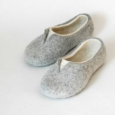 Felted slippers in white and gray - excellent Christmas slippers, of gift for Christmas! These unique slippers are made by hand, they can be created for you! Non-slip sole is covered with natural latex. Now slippers are also available in rubber soles. Please follow the link if interested https://www.etsy.com/listing/100254500/rubber-soles-for-felted-slippers Felt is a perfect material for footwear. It is extremely wear proof and warm. When you put felted slippers o...