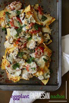 Grilled Eggplant Parmesan Nachos