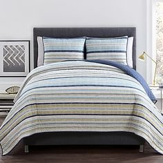 The washed out colors of this VCNY Avalon Quilt Set create a soft and tranquil oasis in your bedroom. Pale stripes in coastal colors transport you to blue skies and sandy beaches every time you step into the room. 2 shams are included to complete the set.