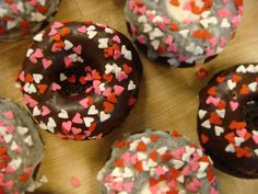 Donut weekend Feb 11th and 12th at Mariposa Bakery! Chocolate donuts with assorted Valentine's toppings! They're gluten-free, dairy-free, nut-free, egg-free & vegan! (donuts with vanilla frosting are soy-free too).