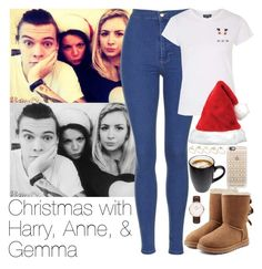 """""""Christmas with Harry, Anne, & Gemma"""" by zarryalmighty ❤ liked on Polyvore featuring Topshop, UGG Australia, Casetify and ASOS"""