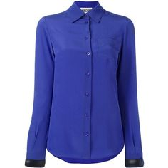 Moschino buckle cuff blouse ($795) ❤ liked on Polyvore featuring tops, blouses, blue, blue top, moschino, long sleeve tops, long sleeve blouse and button front blouse