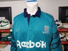 Vintage Reebok Neath RFC Rugby Jersey Men's Blue Teal 38 40 thick heavy felt #Reebok
