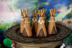 Edible teepees at a Peter Pan birthday party! See more party planning ideas at CatchMyParty.com!