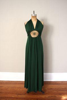 Cocktail Dress // 1970s Halter Party Dress // Vintage Hunter Green Disco Dress.