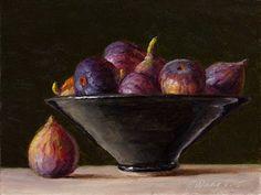 Wang Fine Art: figs in a bowl still life oil painting original fr...