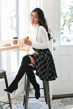 fall / winter - street style - street chic style - casual outfits - black windowpane circle skirt + white turtleneck sweater + black heeled over the knee boots + black shoulder bag