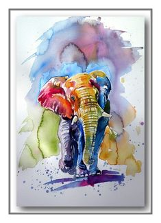 Buy Colorful elephant, Watercolour by Kovács Anna Brigitta on Artfinder. Discover thousands of other original paintings, prints, sculptures and photography from independent artists. Elephant Colour, Colorful Elephant, African Art Paintings, Animal Paintings, Watercolor Animals, Watercolor Paintings, Watercolour, Elephant Watercolor, Abstract Paintings