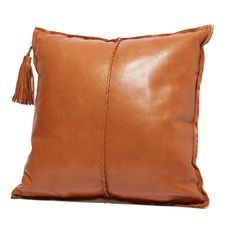 Leather Pillow with Tassle