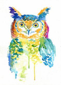Impresión del arte colorido buho acuarela por TheColorMaven