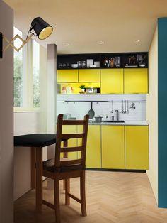 Мини-кухня. Не очень хороший рендер, но здорово смотрится маленькая желтая кухня и черная и бирюзовая стены. Black Kitchen Cabinets, Kitchen Cabinet Design, Interior Design Kitchen, Interior Ideas, Layout Design, Build My Own House, Diy Kit, Bungalow House Plans, Dream House Interior