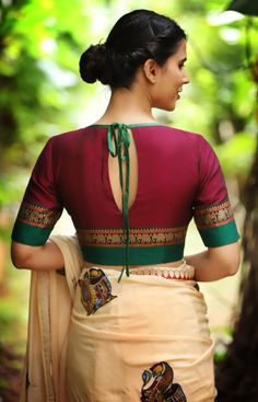 Buy readymade blouse online shopping india has got variety of blouse designs, designer blouses, ready to wear saree blouses.Gorgeous saree blouses measurement Read more about ---Cream saree and red blouseRust and navy kanjivaram - boat neck blouseTrending Saree Blouse Neck Designs, Fancy Blouse Designs, Saree Blouse Patterns, Latest Blouse Designs, Boat Neck Designs Blouses, Blouse Designs Wedding, Indian Blouse Designs, Traditional Blouse Designs, Saris