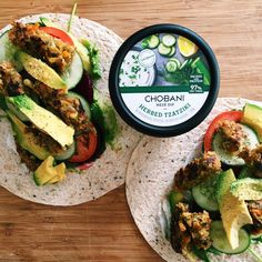 Wholegrain wrap with avocado, spinach, beetroot, tomato, cucumber, @chobaniau tzatziki and a veggie patty