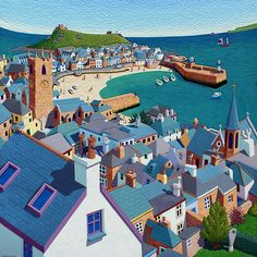 print painting picture St. Ives Harbour by artist Seb West