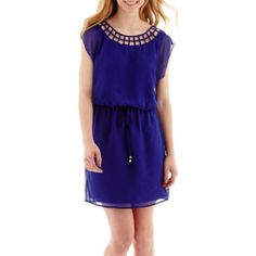 City Triangles® Cap-Sleeve Lattice-Front Blouson Dress  found at @JCPenney