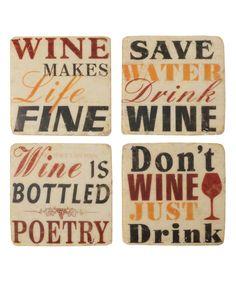 'Wine' Coaster Set