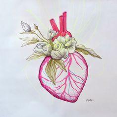 Gro Mukta Holter - Captain of her heart Graphic Prints, Art Drawings, Artist, Artwork, Painting, Heart, Pictures, Work Of Art, Auguste Rodin Artwork