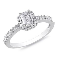0.75 CT. T.W. Emerald-Cut Diamond Engagement Ring in 14K White Gold  - Peoples Jewellers