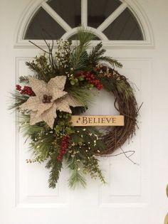 Christmas Wreaths-Holiday Wreath-Rusty Sleigh Bell Wreath-Wooden Sign-Believe Wreath-Rustic Christmas Decor-Wreath for Door-Designer Wreath