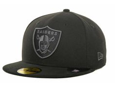 Oakland Raiders New Era NFL Black Gray Basic 59FIFTY Cap Football Caps b805b5dd41d