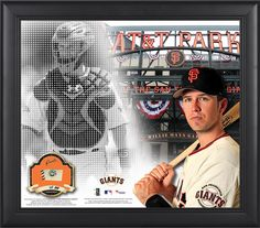 "Buster Posey San Francisco Giants Framed 15"" x 17"" Mosaic Collage with Game-Used Baseball-Limited Edition of 250"