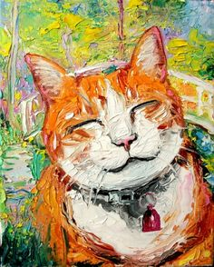 Smiling cat on the bridge over water lillies by Monet :)