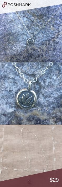""".925 Sterling Lotus charm & chain NEW. Love this tiny lotus charm. It's .925 sterling silver with a distressed look. Absolutely adorable. Strung on a matching .925 sterling silver 18"""" dainty but strong cable chain. Minimalist at its best. Jewelry Necklaces"""