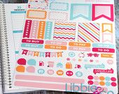 PLUM PAPER PLANNER Fruit Stripe Weekly Designer Life Planner Kit Stickers!!!! Set of 62 LIBBIE AND CO