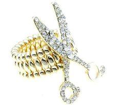 Scissor Stretch Ring Clear Crystals Hair Stylist