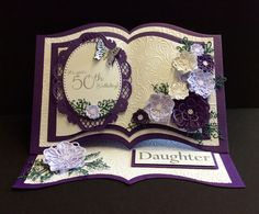 Dies I used for this project. Presscut A4 book Sue Wilson perfect Peony complete & open petal. Sue Wilson swirly leaf trio. Marianne designs Petra's oval Embossing folder also Sue Wilson. All items from Crafty Urchins ST10 1AJ.