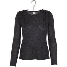 Pull en mohair à volants Gris DES PETITS HAUTS (€169) via Polyvore featuring tops, sweaters, mohair sweaters y des petits hauts