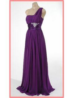 Purple Chiffon One Shoulder Goddess Gown // Blue Velvet Vintage