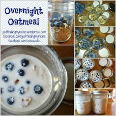 BLUEBERRY OVERNITE: Per Jar: 2/3 c slow or long cooking oats 2/3-1 c milk 1 tbs of brown sugar or raw honey a sprinkle of nuts {approx 2+ tbs} a handful of blueberries {approx 1/4 c} a dash of cinnamon {optional}  Put all ingredients into jar & shake to mix. Let sit in fridge at least overnight.