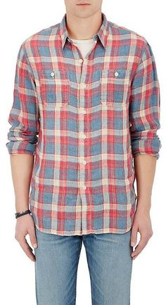 RRL Men's Farrell Plaid Linen Workshirt