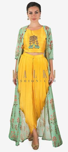 Yellow Crop Top Matched With Fancy Dhoti Pant And A Full Length Floral Jacket Online - Kalki Fashion Indian Wedding Outfits, Indian Outfits, Mehendi Outfits, Bollywood, Indian Gowns Dresses, Kurta Designs Women, Kurti Designs Party Wear, Dress Indian Style, Indian Designer Outfits