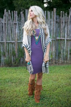 fringe boots and cardigan. #style #inspiration #zappos